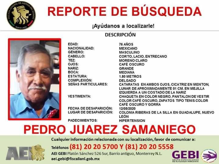 Hombre de 76 años desaparece en la colonia Riberas de la Silla