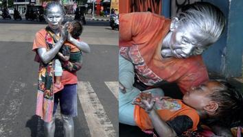"""Abuelita trabaja como estatuapara poder alimentar a su nieto de dos años; """"me mueve el amor"""""""