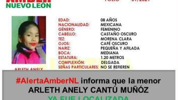 Localizan a niña de 8 años reportada como desaparecida en Apodaca