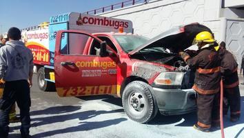 Camión repartidor de gas se incendia