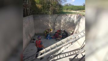 Hombre se lesiona al caer a una cisterna en Montemorelos