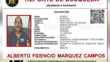 Emiten alerta para localizar a hombre de 63 años desparecido en Guadalupe, NL